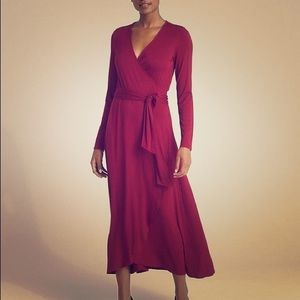 Gap Petite Large Red/Cranberry Midi Wrap Dress
